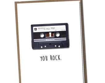You rock. Classic Linen Series Greeting Card- Blank Inside