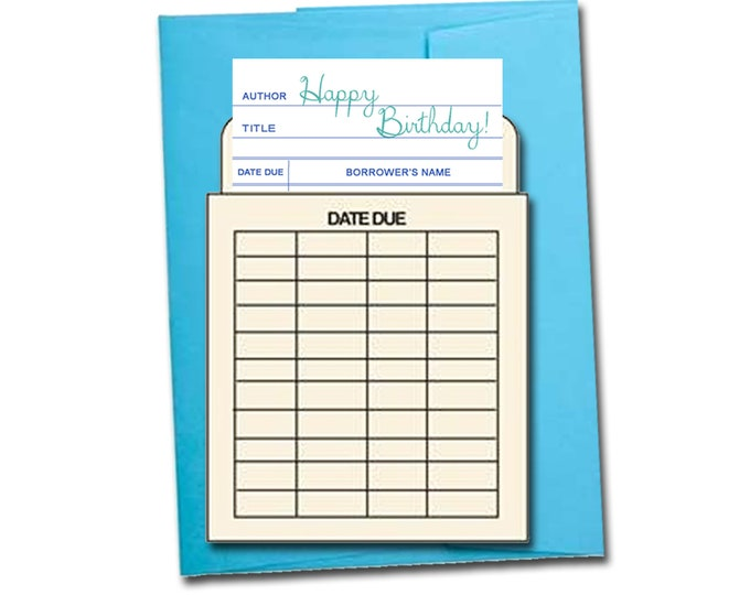Happy birthday! Book themed greeting card with a vintage library pocket and envelope.