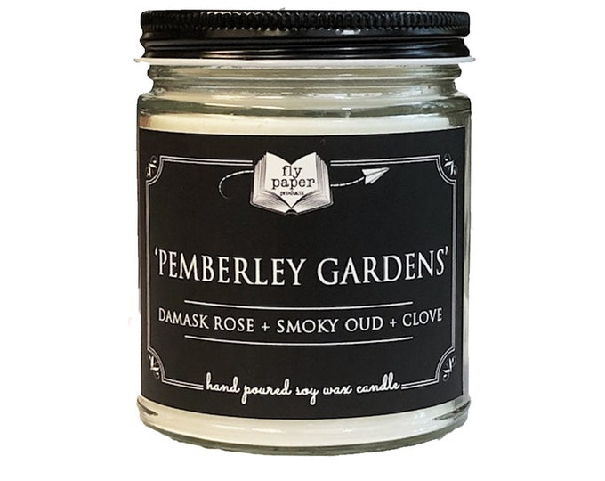 Pemberley Gardens - 9oz Handpoured Soy Candle-  Damask Rose + Smoky Oud + Clove - Jane Austen Candle - Literary Candle - Book inspired gift