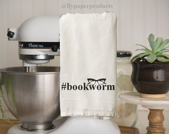 Bookworm Tea Towel - Kitchen Towel - Hand Towel - Bookish Gift- Book Club Gift- American Made - 100% Cotton - Kitchen Accessory