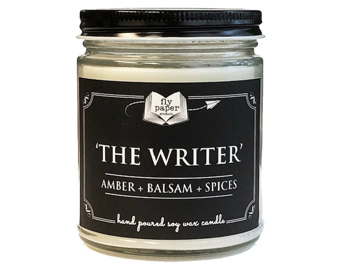 The Writer - 9oz Handpoured Soy Candle - Amber + Balsam + Spices - Book Lover Candle - Literary Candle - Writer Inspired- Author Gifts
