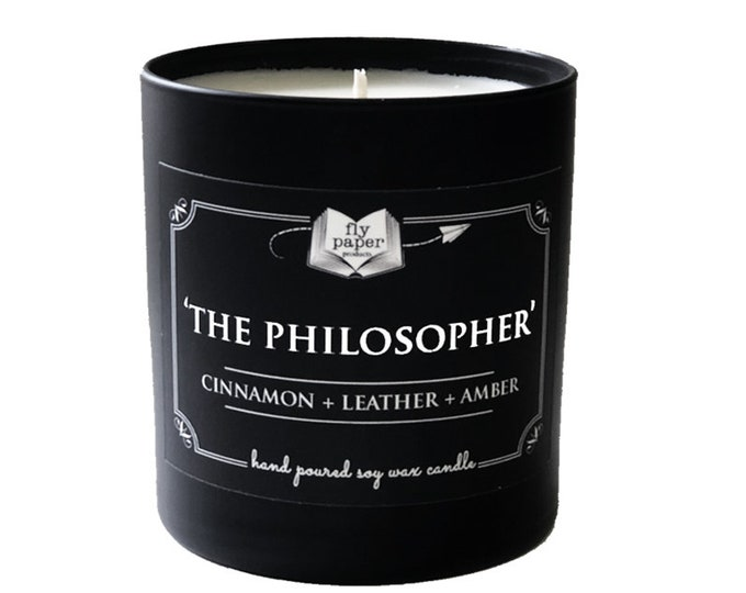 The Philosopher-11oz Handpoured Soy Candle- Cinnamon+ Leather + Amber - Book Lover Candle - Literary Candle - Boxed Candle