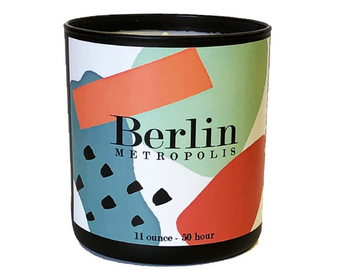 Berlin -11oz  Luxe Soy Candle -Metropolis Collection - Mandarine, Cedar Fragrance - Bon Voyage - Travel - Avant Garde - Germany- German