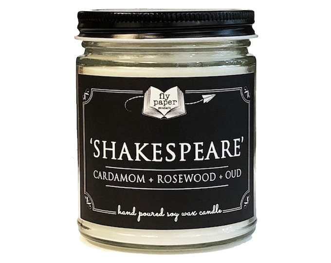 Shakespeare - 9oz Handpoured Soy Candle - Cardamom + Rosewood + Oud - Book Lover Candle - Literary Candle - Book Inspired Gift