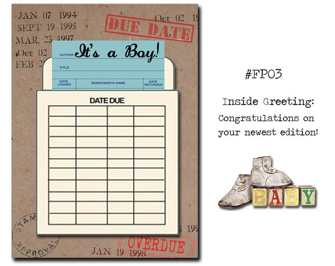 It's a BOY!. Book Themed New Baby Card with a Vintage Book Card and Library Pouch.