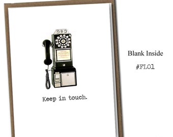 Keep in Touch. Classic Linen Series Greeting Card- Blank Inside