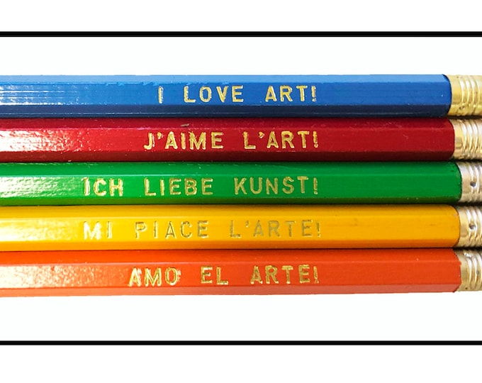 Set of 5 'I Love Art!' Language Pencils