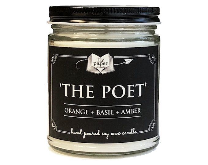 The Poet - 9oz Hand poured Soy Candle - Orange + Basil + Amber - Book Lover Candle - Literary Candle - Book Inspired Gift - Poetry