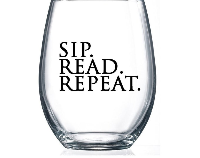 IMPERFECT SALE! Sip. Read. Repeat. - 15oz Stemless Wine Glass