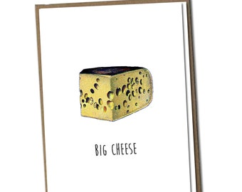 Big Cheese. Classic Linen Series Greeting Card- Friendship Card