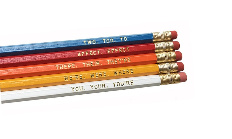 Set of 5 Colorful Assorted Grammar Pencils  Book Lovers image 0
