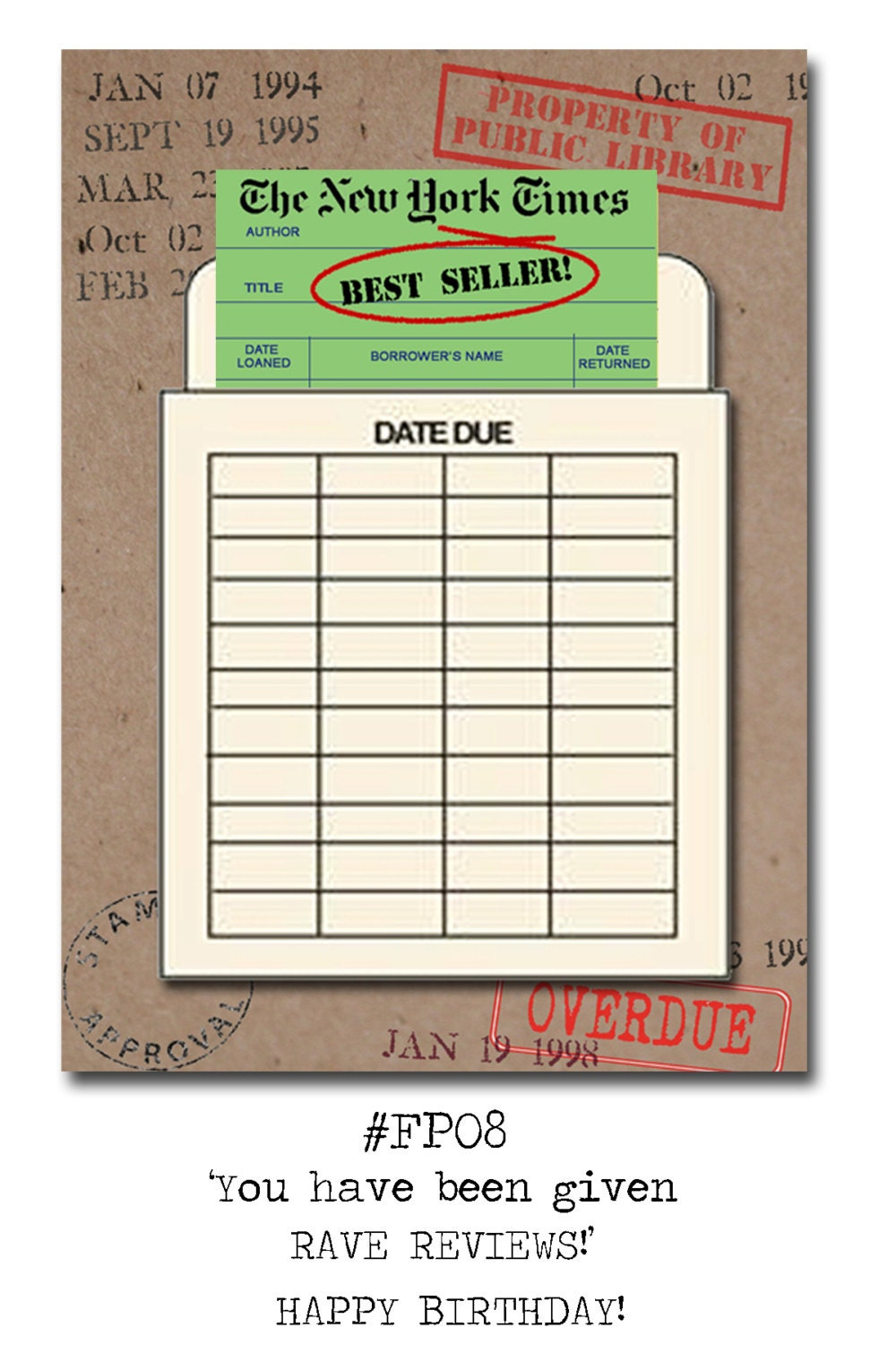 New York Times Best Seller Book Themed Birthday Card With A Vintage