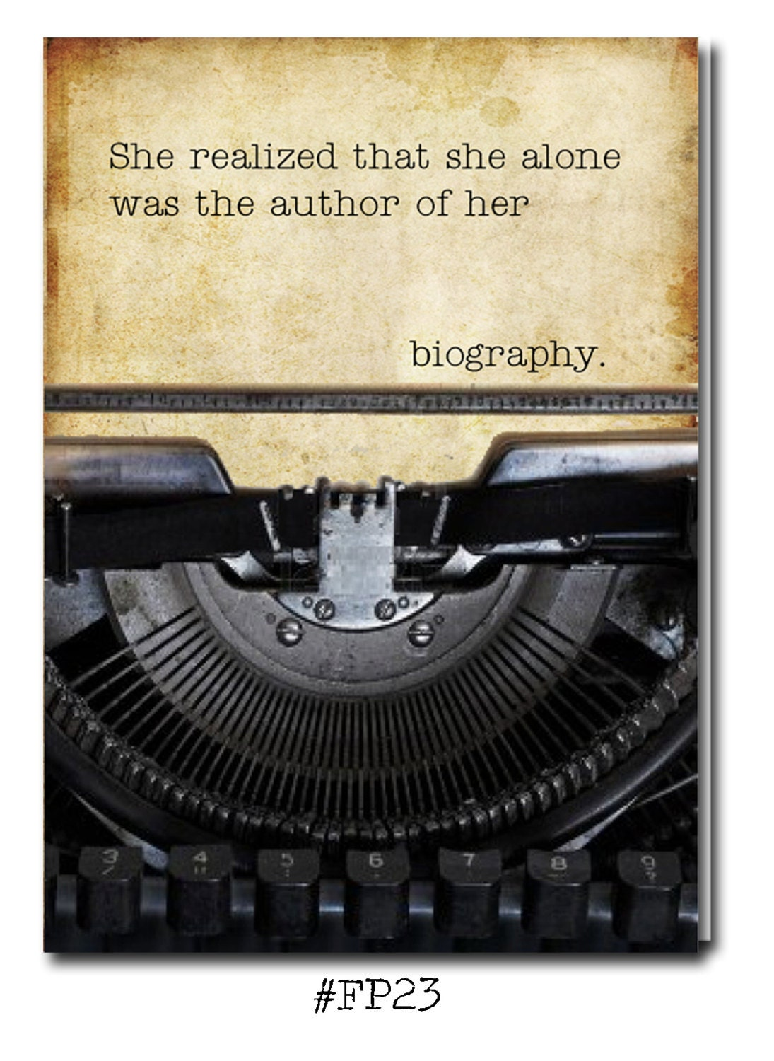 She realized that she alone was the author of her biography she realized that she alone was the author of her biography greeting card with vintage book card and library pocket m4hsunfo
