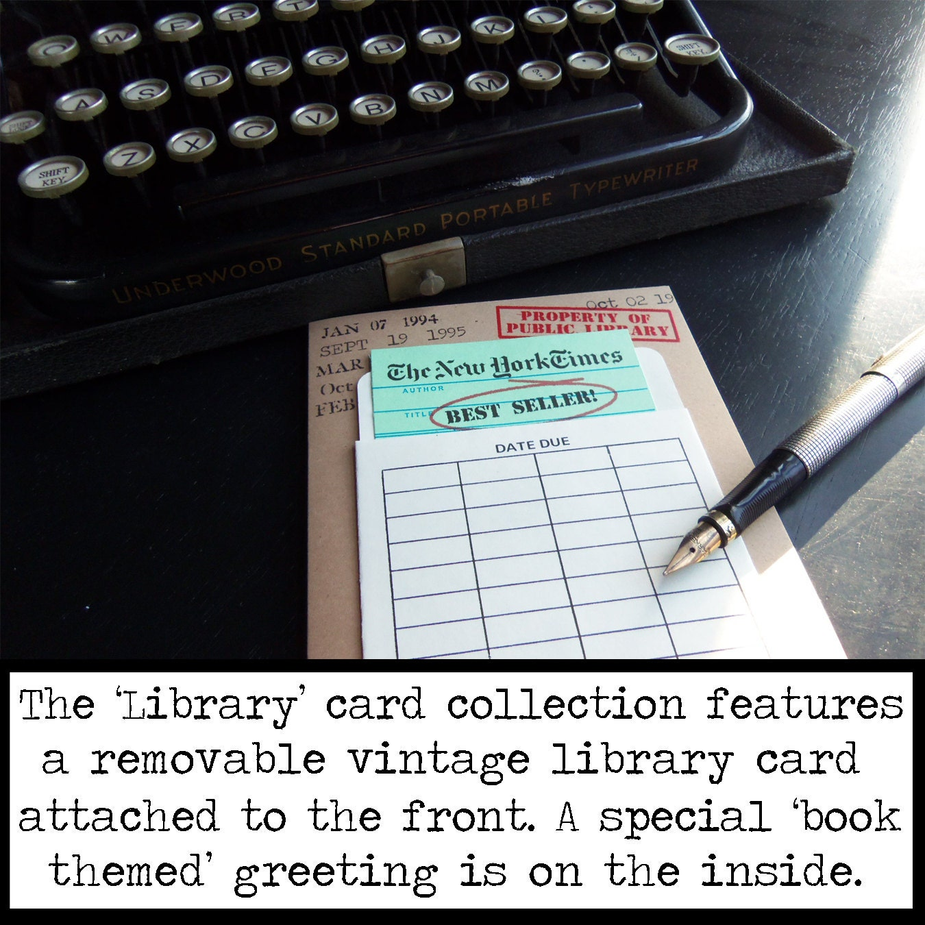 New York Times Best Seller Book Themed Birthday Card With A Vintage And Library Pouch