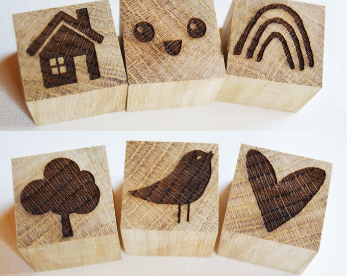 Featured listing image: Childrens Story Blocks, Oak Wood Engraved Stamps, Display Stamps, Childrens Stamp Gift Set, 6 stamps