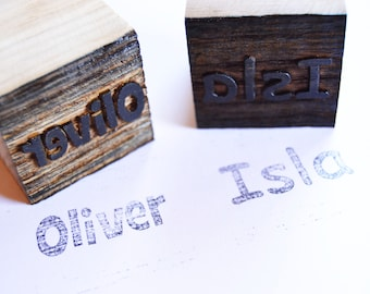 Personalised Name Stamps, Logo Stamp, Wood Printing Blocks, Wooden Stamps, Ink Stamp Block, Childrens Birthday Name Block
