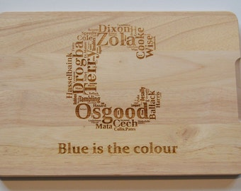 Chelsea Football Players Engraved Wooden Chopping Board - Light Wood - Cutting Board - Made to Order