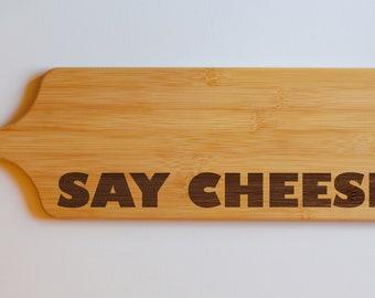 Say Cheese Kitchen Engraved Paddle Chopping Board -  Engraved Smorgasbord - Bamboo Wood - Serving Board - Wedding Gift, Cheese Board