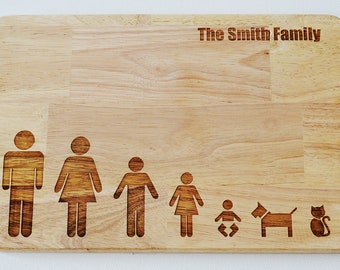 Personalised Chopping Board, Family Tree, Stick Family Chopping Board, Cheese Board, Wooden Chopping Board