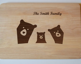 Personalised Chopping Board, Engraved Bear Family Chopping Cheese Board Wedding Baby Gift