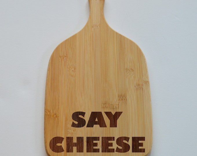 Featured listing image: Personalised Kitchen Engraved Paddle Chopping Board -  Engraved Smorgasbord - Bamboo Wood - Serving Board - Wedding Gift, Cheese Board