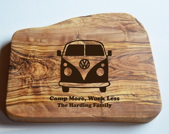 Campervan Chopping Board, Olive Wood Board, Cheese Board, Camp More, Work Less VW Board