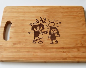 Personalised Childrens Art Engraved onto Large Solid Wooden Chopping Board - Personalised Gift - Cutting Board - Made to Order