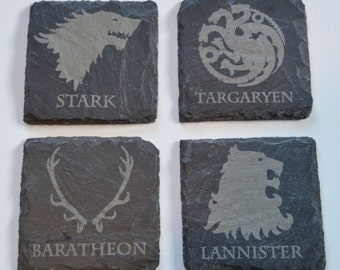 Game Of Thrones Engraved Slate Coasters, Custom Coasters, Game Of Thrones Fans, Birthdays, House Gift, Anniversary