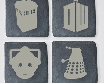 Dr Who Engraved Wooden and Slate Coasters, Custom Coasters, Dr Who Fans, Birthdays, House Gift, Anniversary, includes the Tardis, Dalek