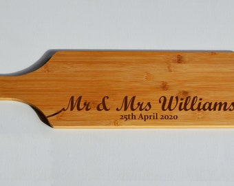 Wedding Gift, Cheese Serving Board, Long Paddle Chopping Board - Engraved Smorgasbord -Bamboo Wood - Serving Board - Cheese Board