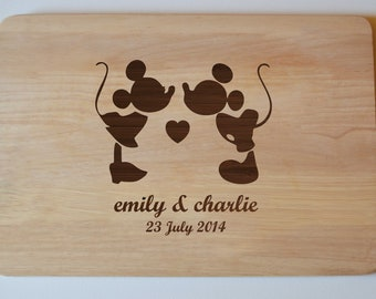 Personalised Engraved Minnie Mickey Wedding Anniversary Chopping Cheese Board