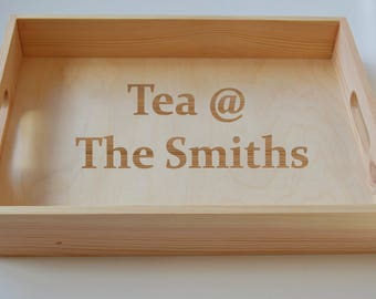 Personalised Tea Tray, Wooden Tray, Cake Tray,  Serving Tray, Gardening Tray, Engraved Family Tray
