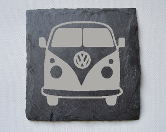 Campervan Engraved Slate Coasters, Custom Coasters, Campervan Lovers, VW Lovers, Birthdays, House Gift, Anniversary Gift