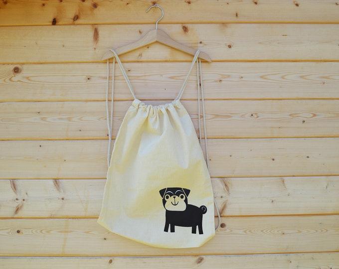 Featured listing image: Hand Screen Printed Drawstring Bag, Pug Print