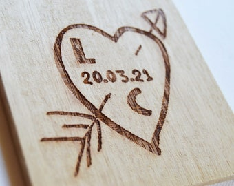 Personalised Engraved Wood Coasters, Heart Coaster Designs, Bulk Wood Coasters, Wedding Favours Custom Coasters, Wood Anniversary Gift