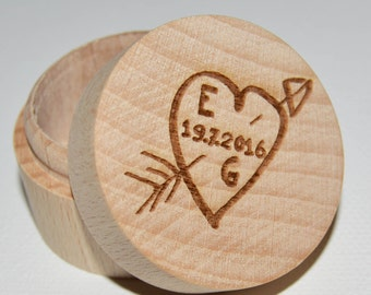 Personalised Wedding Ring Box Professionally Engraved, Wooden Ring Box