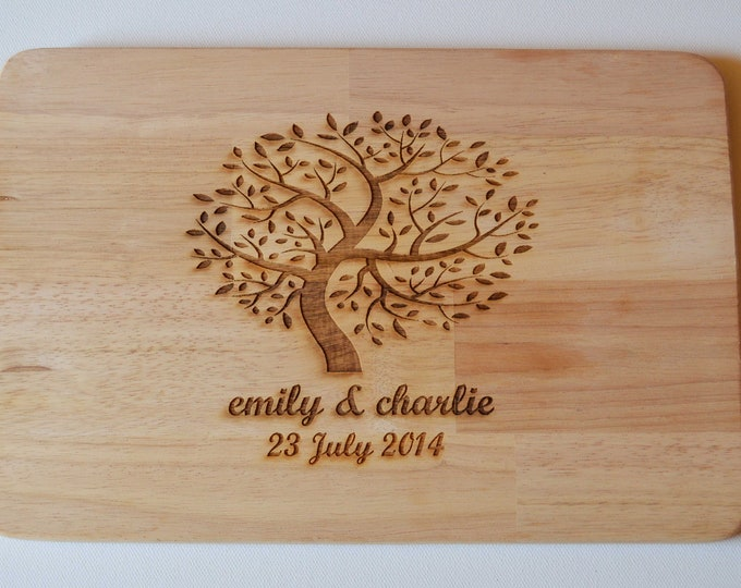 Featured listing image: Personalised Engraved Tree, Wedding, Anniversary Chopping, Cheese Board