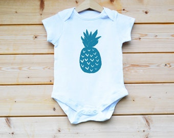 Pineapple Blue BabyGrow, Hand Screen Printed BabyGrow, Hand Made, Baby Suit, Baby Vest, Baby Gift Designed by FlolliePopDesigns