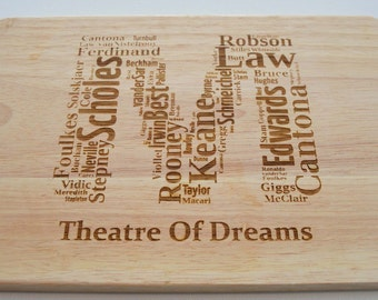 Manchester United Football Engraved Wooden Chopping Board - Light Wood - Cutting Board - Made to Order