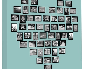 Family Tree Heart shaped Collage on Canvas Personalise Your Photos into a Great Customised Gift Ready to Hang