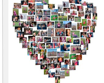 Personalised Collage Heart Shape Photo Collage on Canvas, Personalise Collage Framed Ready to Hang, Photo Collage