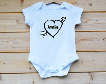 Personalised BabyGrow, Heart Baby Grow, Any Name and Date  BabyGrow, Baby Suit, Baby Vest, Baby Gift Designed by FlolliePopDesigns