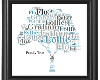 Gift Personalised Word art Family Tree, Heart, Flower Gift unique print