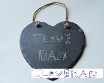 Your Own Childs Drawing Engraved on Slate Heart, Personalised Gift, House Gift, Anniversary, Mothers Day Gift