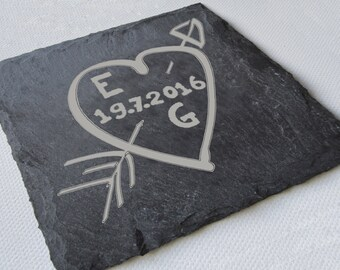 Personalised Engraved Slate Coasters, Wedding Gift, Valentines Gift, Custom Coasters, Slate Tiles, House Gift, Anniversary