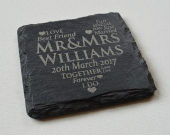 Personalised Engraved Slate Coasters, Bulk Order for Wedding Favors, Wedding Gifts