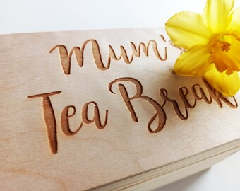 Mothers Day Tea Box Gift Set, Keepsake Tea Wooden Box, Personalised Tea Box, Slate or Wooden Coaster, Selected Tea Bags, Added Personal Note