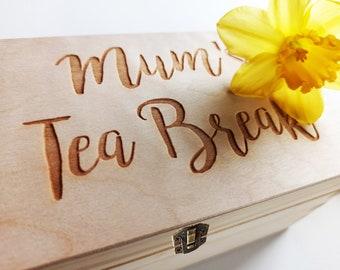Mothers Day Tea Box Gift Set, Keepsake Tea Wooden Box, Personalised Tea Box, Slate or Wooden Coaster, Selected Tea Bags, Added Personal Note