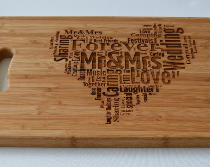 Featured listing image: Engraved Large Solid Wooden Chopping Board, Cutting Board, Cheese Board