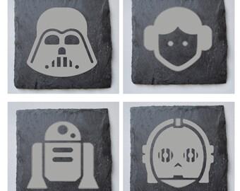 Wood or Slate Engraved Star Wars Coasters, Custom Coasters, Star Wars Fans, Wedding Gift, House Gift, Anniversary